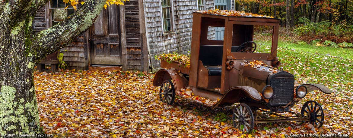 Autumn season with antique 1925 Ford Pickup Truck