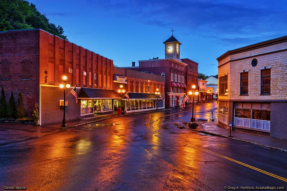 Main Street after a light rain in Dexter, Maine