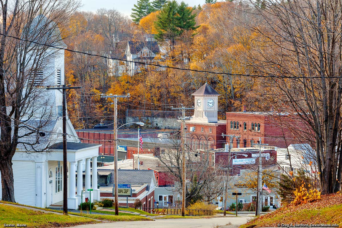 Autumn view of Dexter, Maine from Upper Main Street