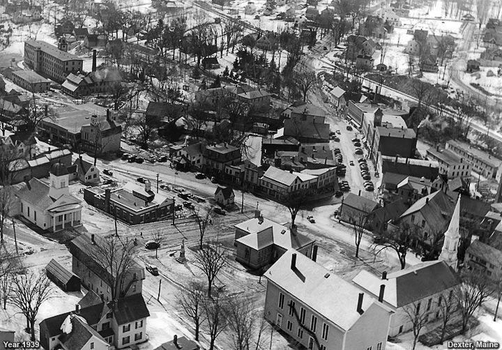 An aerial view of Dexter, maine in the year 1860