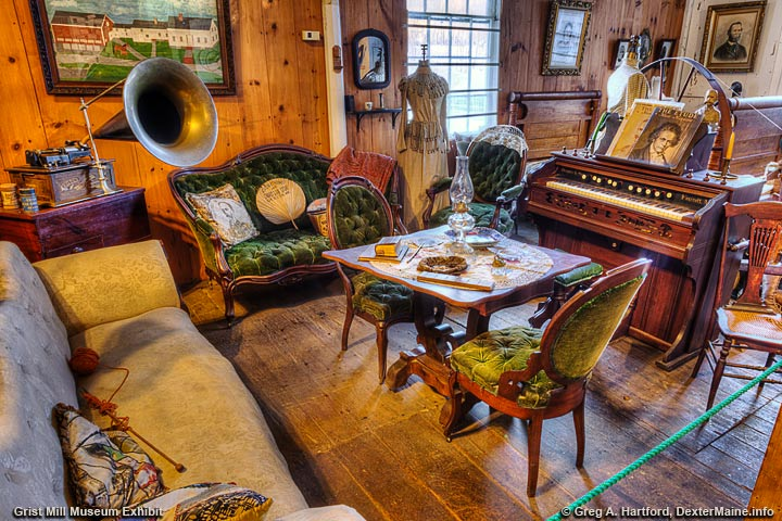 Furniture Exhibit in the Grist Mill Museum in Dexter, Maine