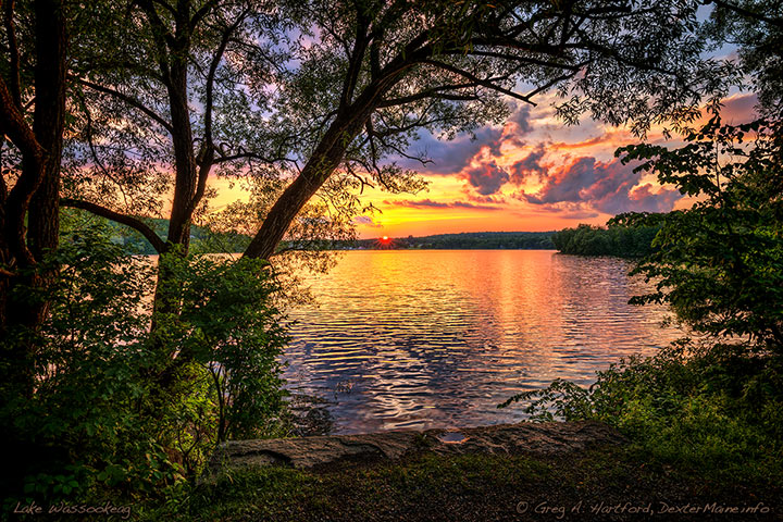 July 6 sunset over Little Lake Wassookeag in Dexter seen from the Four Seasons Adventure Trail