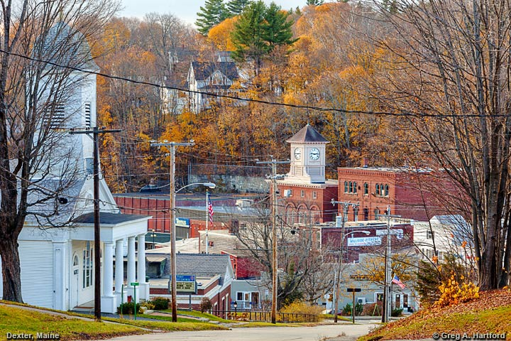 Autumn view of Dexter, Maine from Upper Main Street Hill