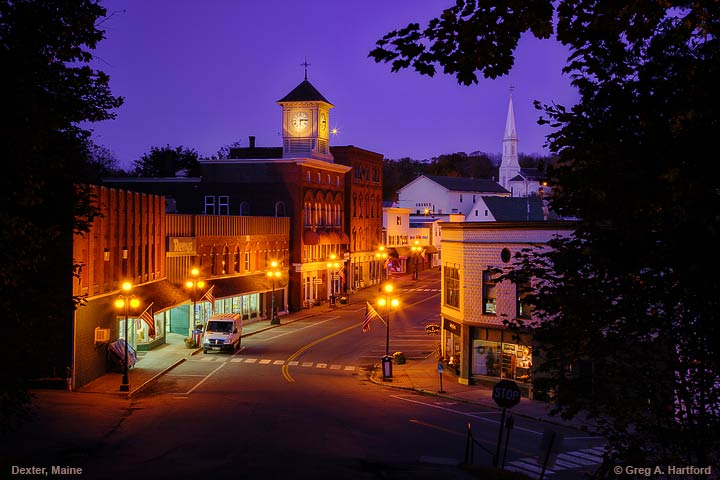 Main Street in Dexter, Maine at night