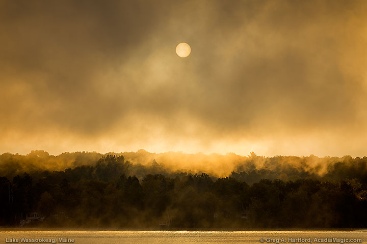 Foggy Sunrise over Lake Wassookeag in Dexter, Maine